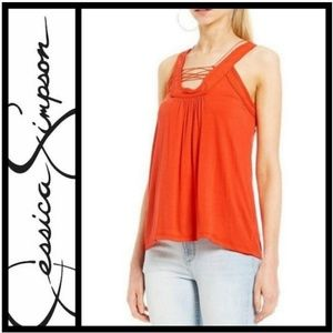 Jessica Simpson Athena sleeveless lace up top